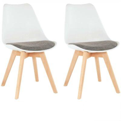 Készlet 2 db-os, szék, fehér/barna, DAMARA