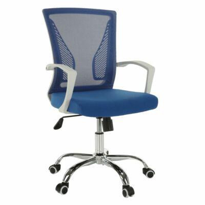 Irodai szék, kék/fehér/króm, IZOLDA