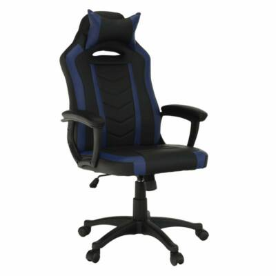 Irodai/gamer fotel, fekete/kék, AGENA