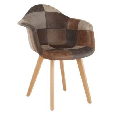 Dizájnos fotel, patchwork/bükk, TERST