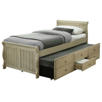 Ágy pótággyal, antik fehér, 90x200, ANTIKO