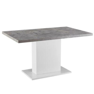 Étkezőasztal, beton/fehér extra magas fényű HG, 138, KAZMA