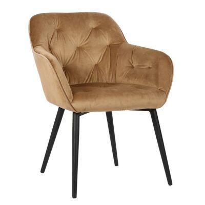 Design szék steppelt háttámlával, barna/fekete, BERILIO