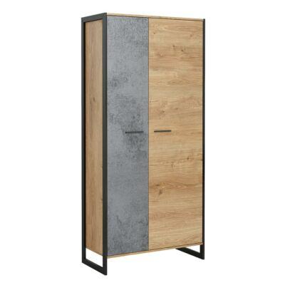 Akasztós szekrény,  grandson tölgy/szürke beton/fekete, EISEN