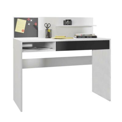 Számítógépasztal mágneses táblával, fehér/fekete, IMAN