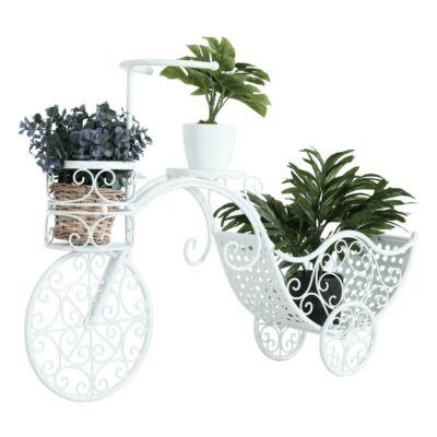 Kerékpár alakú RETRO virágcserép, fehér, ALENTO