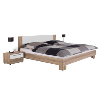 Ágy + 2 db éjjeliszekrény, sonoma tölgyfa/fehér, 180x200, MARTINA