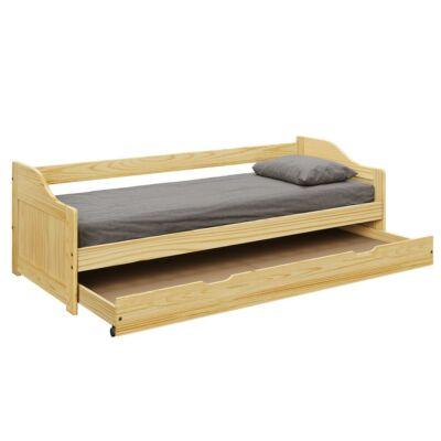Ágykeret kihúzható pótággyal, fenyő tömörfa, 90x200, LAURA