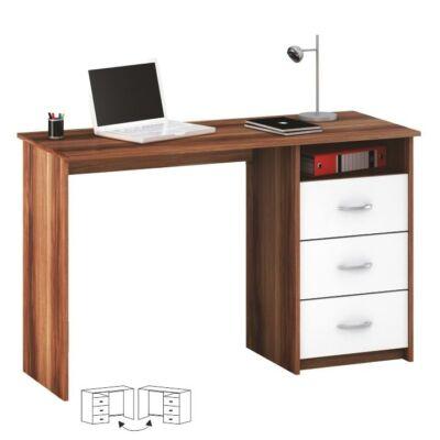 Számítógépasztal, fehér/szilva, LARISTOTE